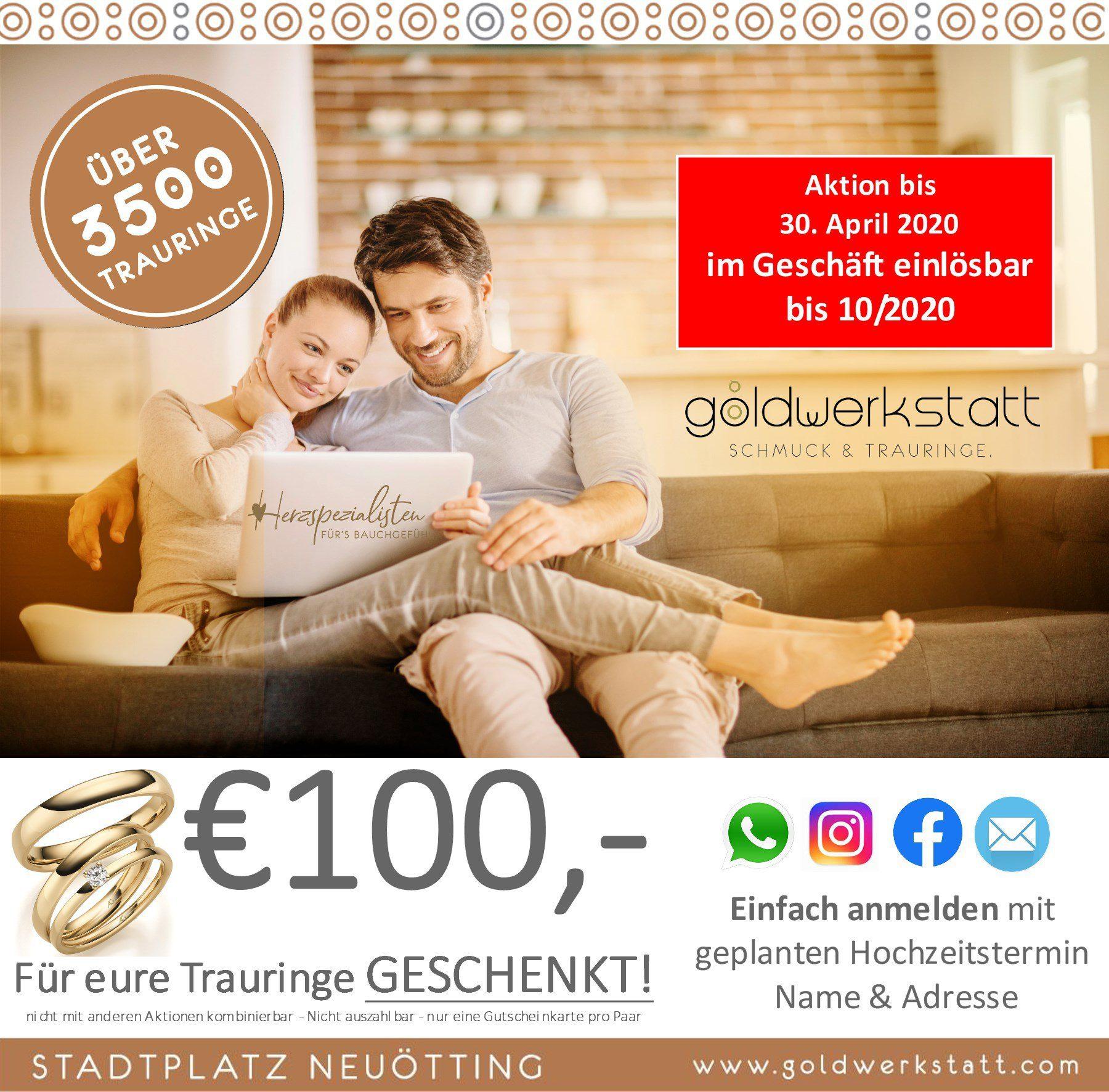 € 100,- für Trauringe geschenkt